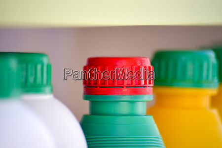 colorfulplastic chemical bottles and caps