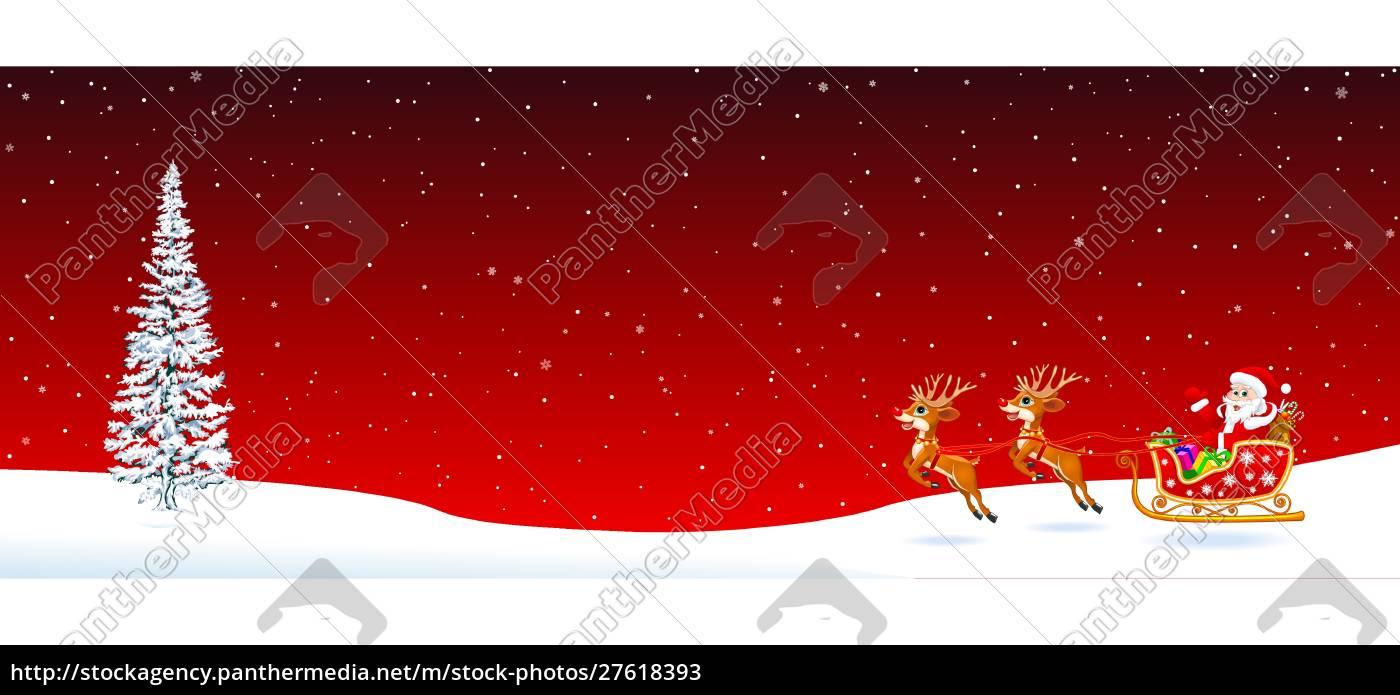 santa, claus, sleigh, fir, tree, on - 27618393