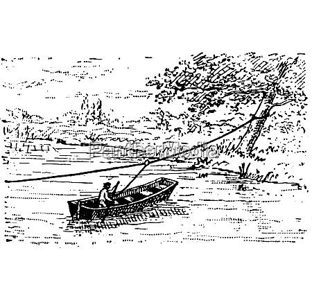 ferry vintage engraving