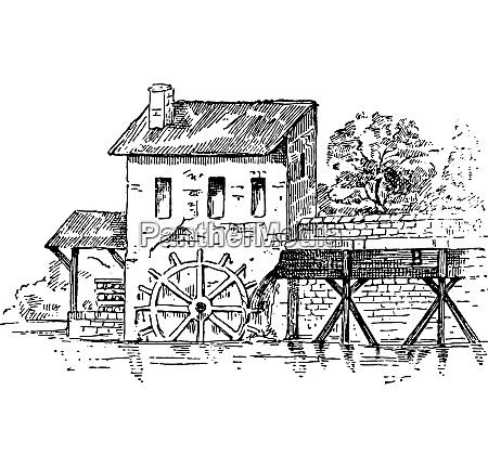 mill race vintage engraving
