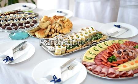 various catering food table and food