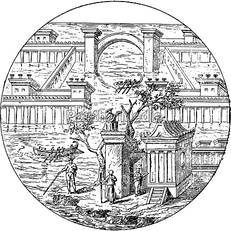 roman villa vintage engraving