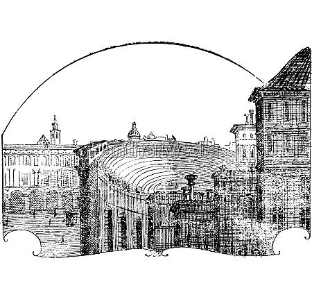 amphitheater of verona vintage engraving