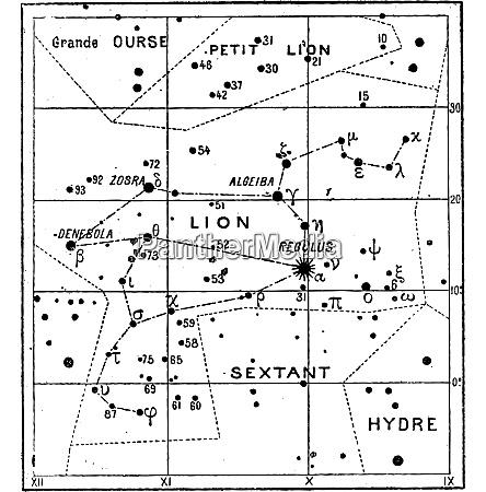 leo constellation vintage engraving