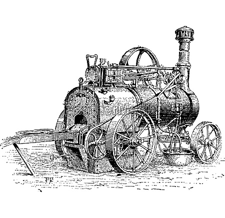 agricultural traction engine vintage engraving