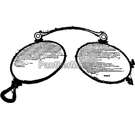 glasses ordinary nose clip vintage engraving