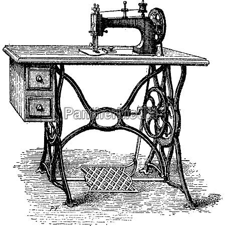 foot powered sewing machine vintage engraving