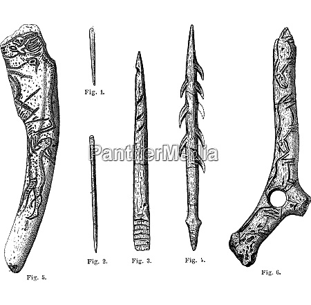magdalenian tools and weapons vintage engraving