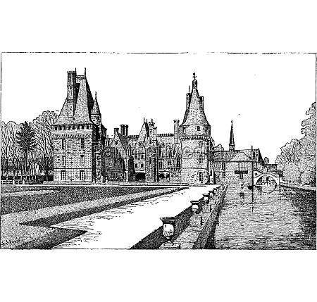 maintenon castle in centre france vintage