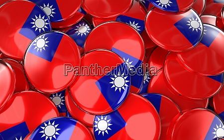 taiwan badges background pile of