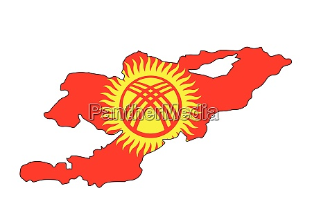 kyrgyzstan map outline with flag