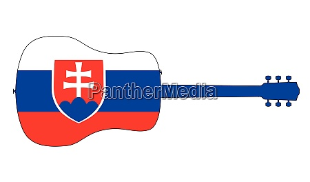 acoustic guitar silhouette with slovakia national