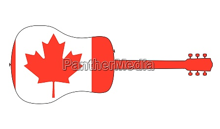 acoustic guitar silhouette with canadian national