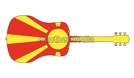 acoustic guitar silhouette with macedonian national