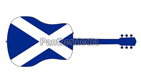 acoustic guitar silhouette with scotland national