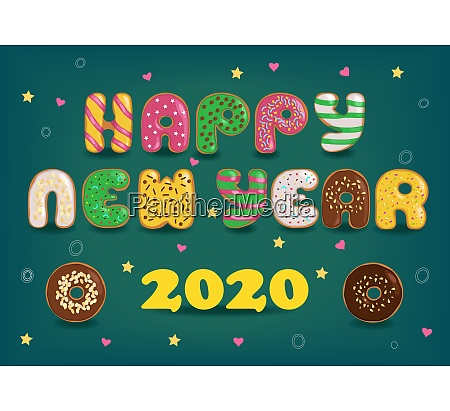 happy new year 2020 colorful donuts