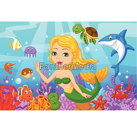 cute mermaid cartoon with fish collection
