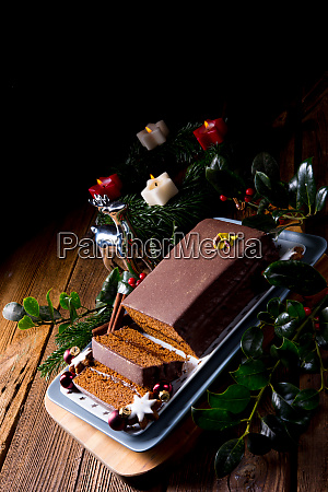 tasty chocolate gingerbread with plum