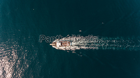 aerial view of a ferry crossing