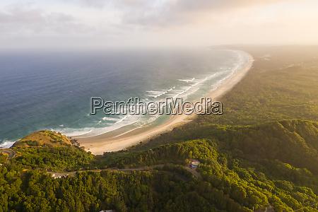 aerial view of hidden beach at