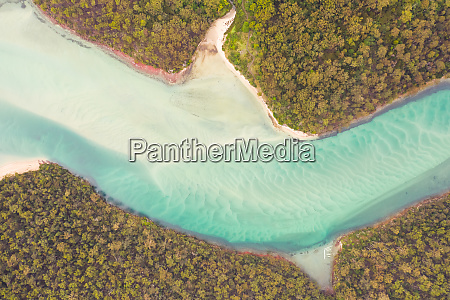 aerial view over transparent water at