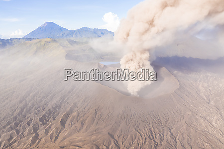 aerial view of phreatic eruptions at