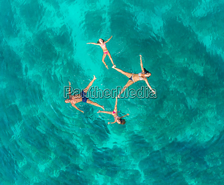 aerial view of family of 4
