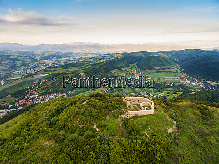 aerial view of old town of