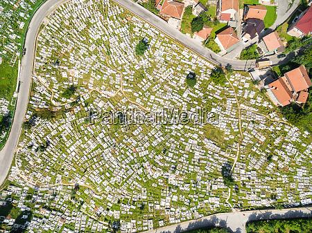 aerial view of ravne bakije cemetery