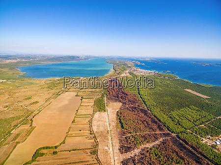 aerial view of vransko lake and