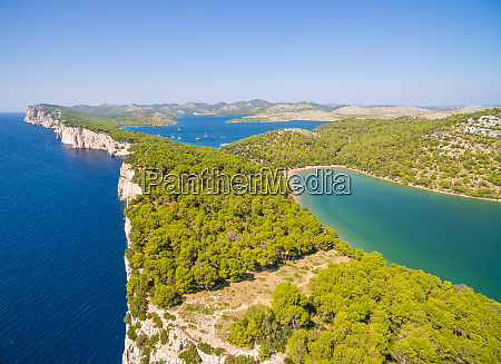 aerial view of national park telascica