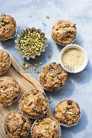 freshly baked muffins with pumpkin seeds