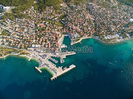aerial view of supetar in croatia