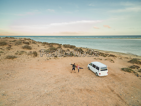 aerial view of a family and