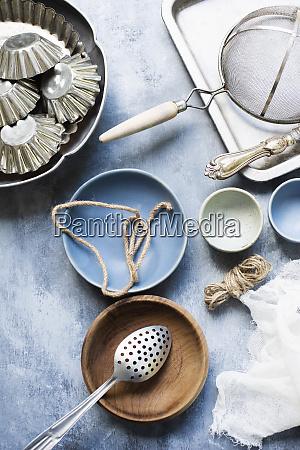 still life of vintage kitchen utensils