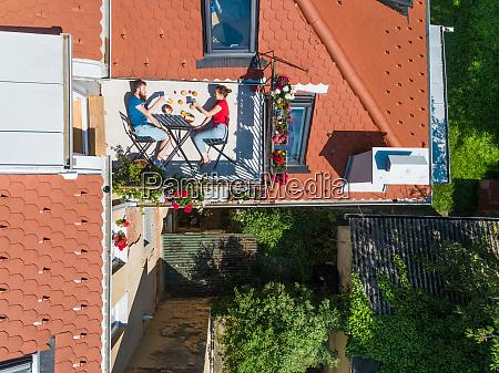 aerial view of couple having breakfast