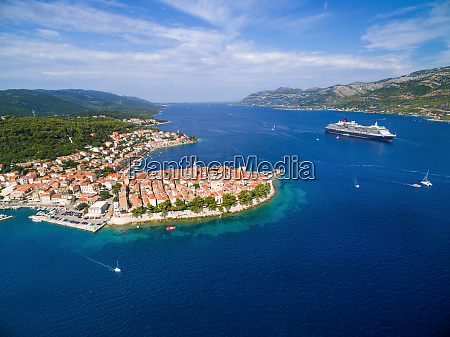 aerial view of big cruiser anchored