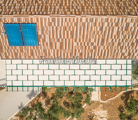 aerial abstract view of villa rooftop