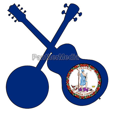 virginia state flag banjo and guitar