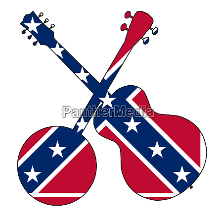 mississippi flag banjo and guitar silhouette