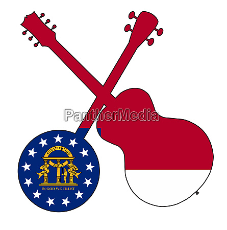 georgia state flag banjo and guitar