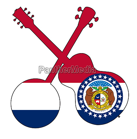 missouri state flag banjo and guitar