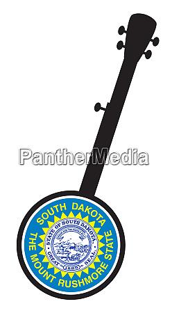 banjo silhouette with south dakota state