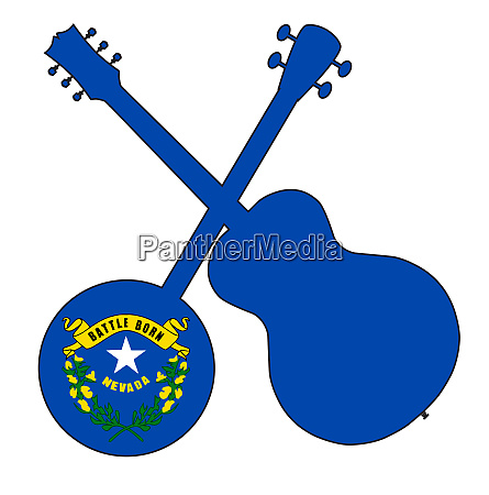 nevada state flag banjo and guitar