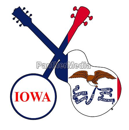 iowa state flag banjo and guitar