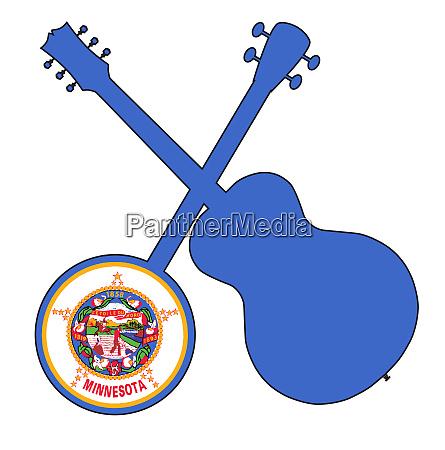 minnesota state flag banjo and guitar