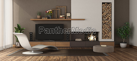 modern living room with fireplace and