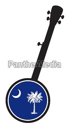 banjo silhouette with south carolina state