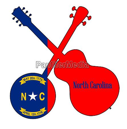 north carolina state flag banjo and