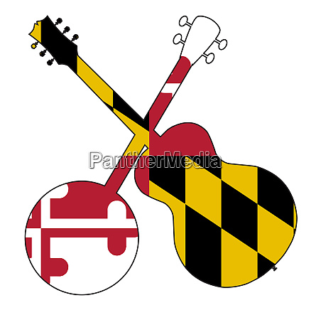 maryland state flag banjo and guitar